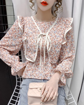 France style long sleeve chiffon shirt spring tops