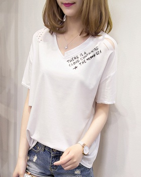 Letters short sleeve T-shirt hollow Casual tops for women