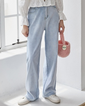 Straight high waist mopping slim light-blue jeans