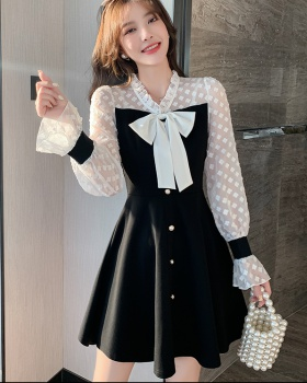 Temperament ladies lace bow spring splice Korean style dress