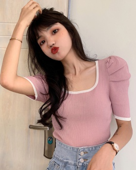 Bottoming puff sleeve T-shirt knitted U-neck tops