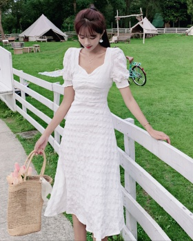 Sweet puff sleeve summer France style dress for women