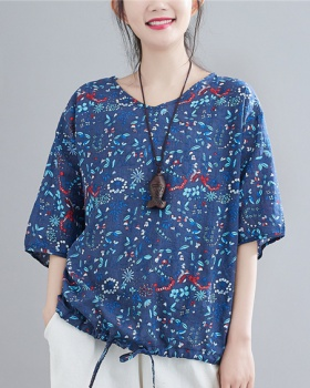 Large yard loose cotton linen shirts V-neck art tops for women