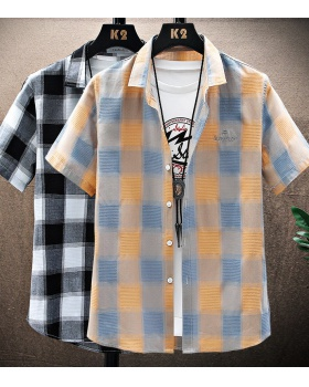 Non-ironing thin summer short sleeve plaid shirt for men