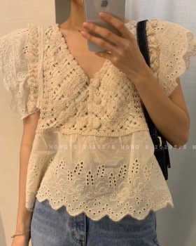 Embroidery lace tops hollow V-neck shirt for women
