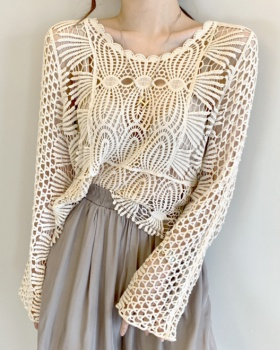 Korean style knitted summer tops grid long sleeve shawl