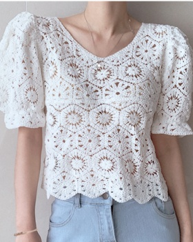 Short sleeve bubble perspective Korean style hollow tops