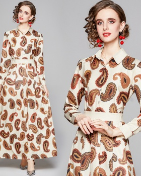 All-match pinched waist slim European style printing dress