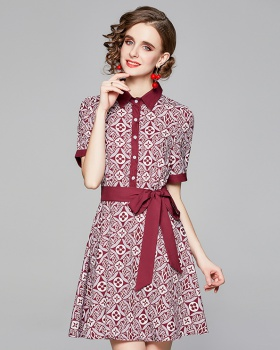 Pinched waist fashion printing all-match short sleeve dress