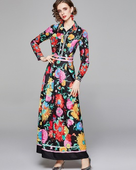 Pinched waist all-match slim printing European style dress