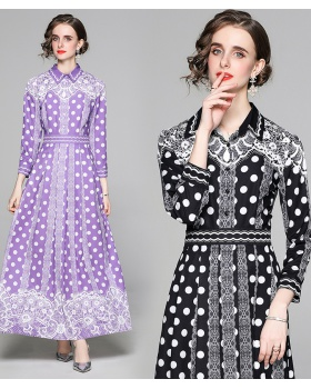 Pinched waist European style printing fashion slim dress