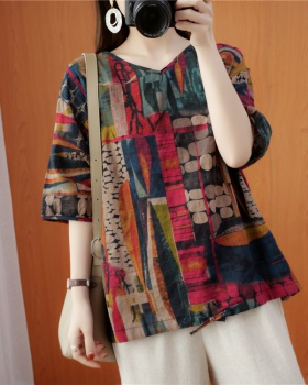 Printing large yard tops retro loose T-shirt for women