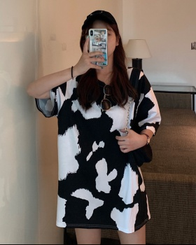 Printing all-match loose dairy cow personality spring dress