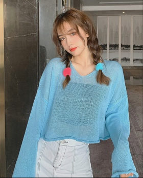 V-neck short lazy loose Korean style knitted tops