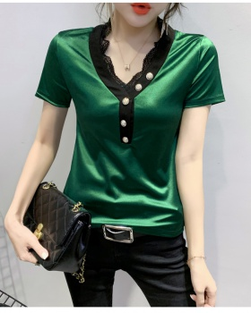 Splice Western style tops summer small shirt for women