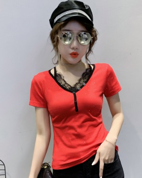 Western style all-match tops lace T-shirt for women