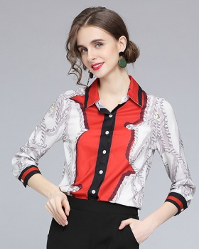 Cstand collar printing chain long sleeve shirt for women