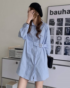Long sleeve loose pinched waist shirt