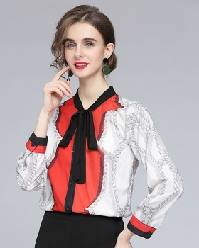 Printing temperament long sleeve loose shirt for women
