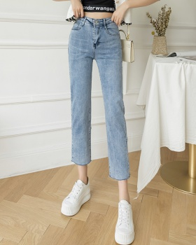 Spring straight jeans slim high waist pants for women