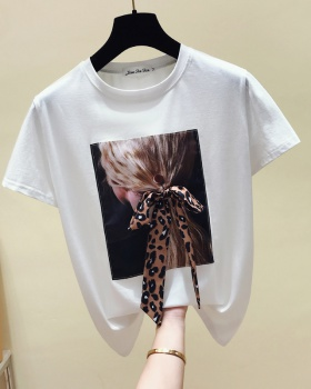 Long summer round neck tops loose Western style T-shirt for women