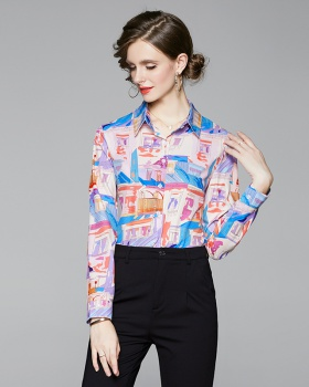 Slim fashion all-match printing pinched waist European style shirt
