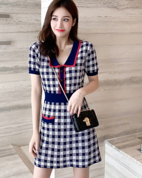 Pinched waist knitted slim France style short sleeve dress