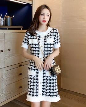 Temperament houndstooth spring and summer Korean style dress