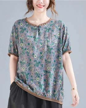 Cotton linen printing tops pocket floral T-shirt for women