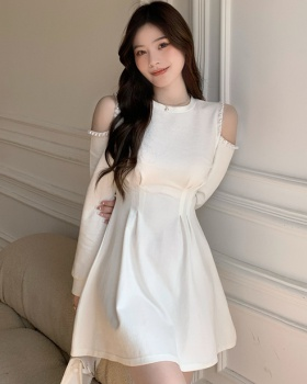 Beading sweet strapless pinched waist Korean style dress