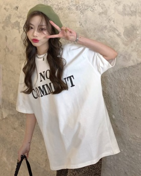 Conventional printing round neck short sleeve loose T-shirt