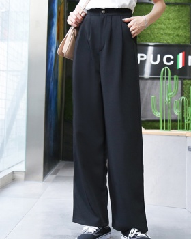 Casual loose work clothing zip high waist suit pants
