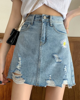 High waist student skirt Pseudo-two spring jeans for women