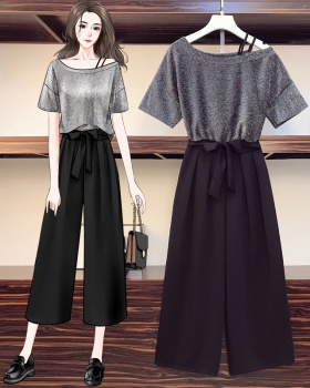 Western style small shirt cropped pants 2pcs set for women