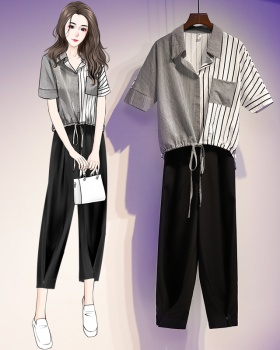 Nine tenths wide leg pants fat shirt 2pcs set for women