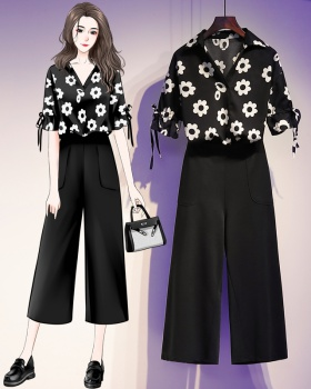 Summer wide leg pants fat shirt 2pcs set for women