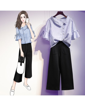 Fat slim wide leg pants short sleeve shirt a set for women