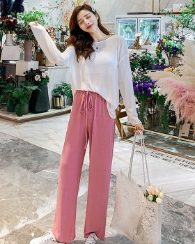 Korean style tender smock thin wide leg pants 2pcs set