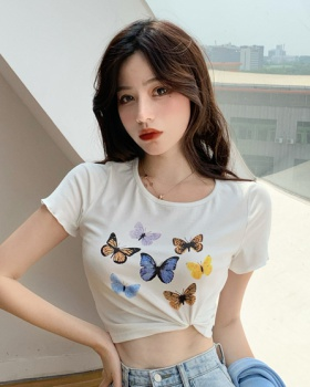 All-match Korean style printing short sleeve T-shirt