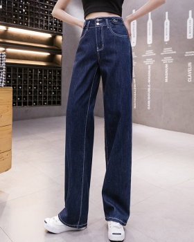 Slim drape high waist jeans loose mopping wide leg pants