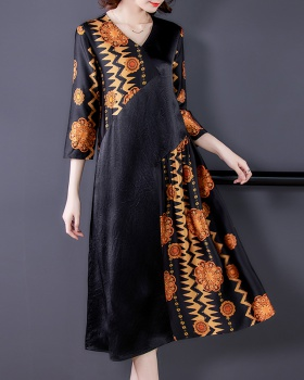Real silk loose mixed colors retro dress for women