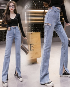 Fashion loose mopping pants split spring jeans
