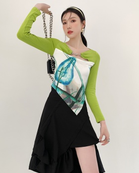 Printing thin tops hollow T-shirt for women