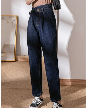 Loose high waist jeans drape blue long pants for women