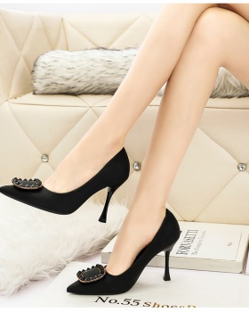 Sexy side buckle high-heeled shoes low shoes for women