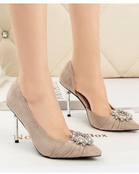 Korean style sun buckle shoes fine-root high-heeled shoes