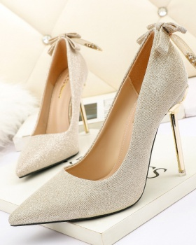 Pointed fine-root shoes metal bow high-heeled shoes for women