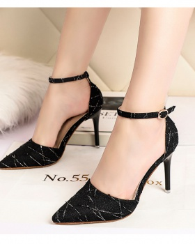 Nightclub slim sandals fashion low high-heeled shoes for women