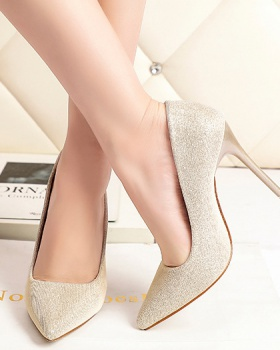 Fine-root low shoes sexy sequins high-heeled shoes for women