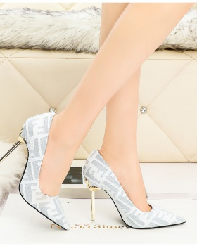 Pointed low high-heeled shoes metal fine-root shoes